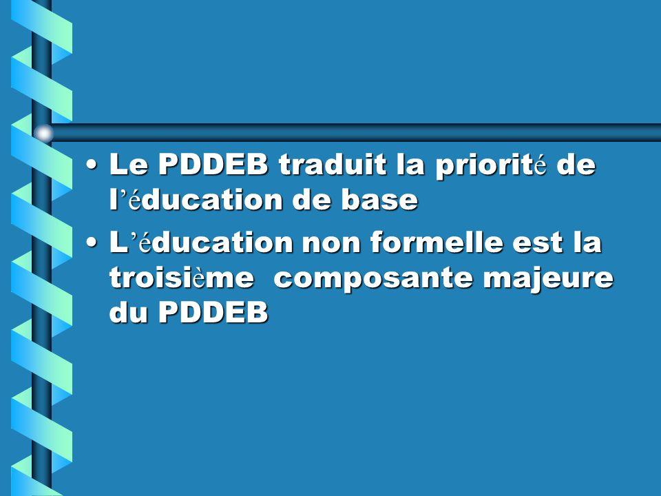 Le PDDEB traduit la priorit é de l é ducation de baseLe PDDEB traduit la priorit é de l é ducation de base L é ducation non formelle est la troisi è m