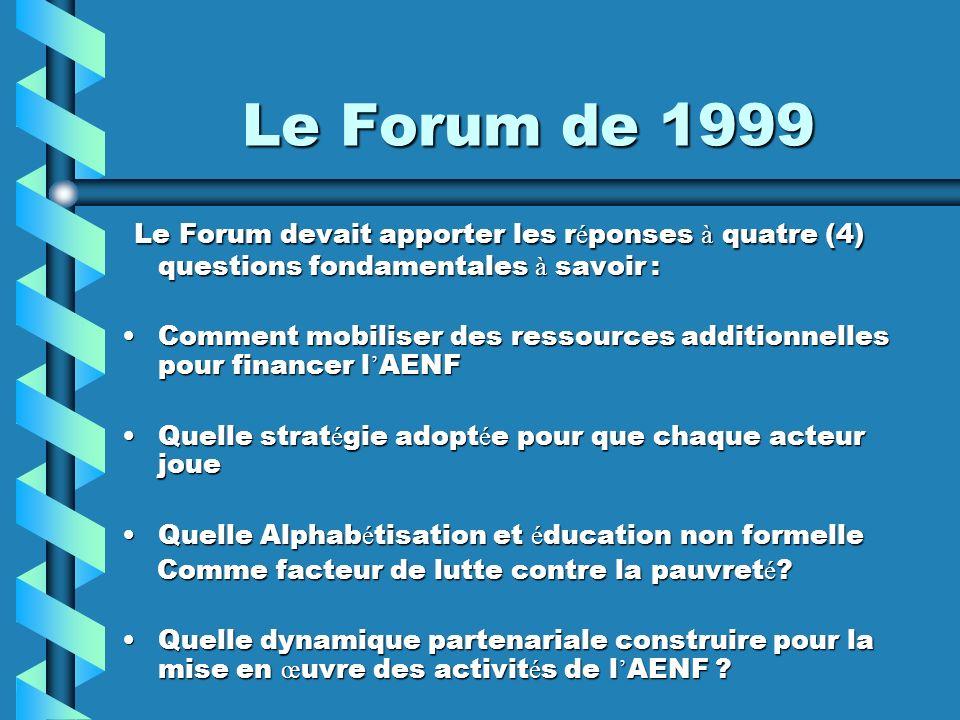 Le Forum de 1999 Le Forum devait apporter les r é ponses à quatre (4) questions fondamentales à savoir : Le Forum devait apporter les r é ponses à qua