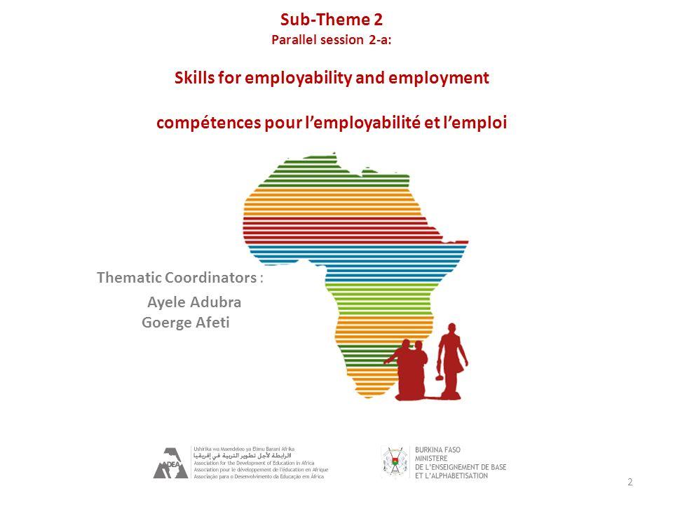 Parallel Session SB2-a Moderator/ Moderateur: Carolyn Mendel-Anonuevo (UIL) Rapporteur: Tarek Cheihi (ADEA) Ressource Person/ Ressource Personne : Peliwe Lolwana (Wits University, SA) Panelists/ Panélistes : Dan Baffour-Awuah (COTVET, Ghana) Cheick Mady Traore (PRODEPFE, Mali) Franklyn Lisk ( Warwick University, UK) Khaled Raouani (MFPE, Tunisie)