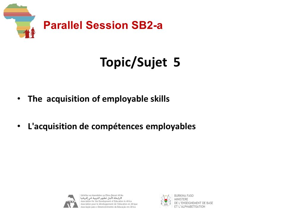 Parallel Session SB2-a Topic/Sujet 5 The acquisition of employable skills L acquisition de compétences employables