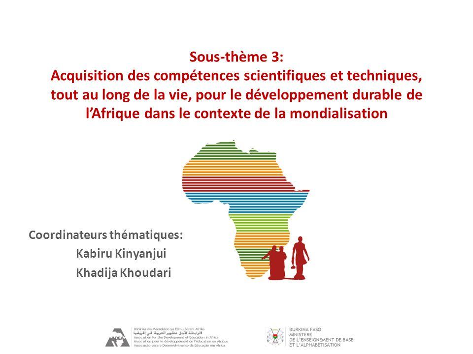 Sous-thème 3: Acquisition des compétences scientifiques et techniques, tout au long de la vie, pour le développement durable de lAfrique dans le contexte de la mondialisation Coordinateurs thématiques: Kabiru Kinyanjui Khadija Khoudari