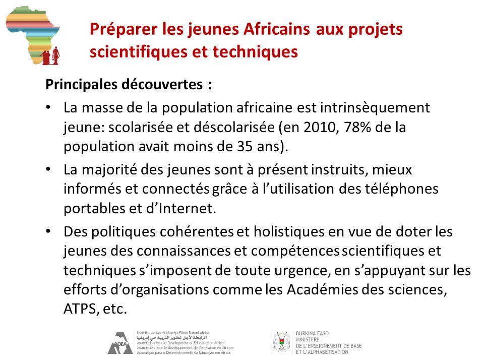 Préparer les jeunes Africains aux projets scientifiques et techniques Principales découvertes : La masse de la population africaine est intrinsèquement jeune: scolarisée et déscolarisée (en 2010, 78% de la population avait moins de 35 ans).