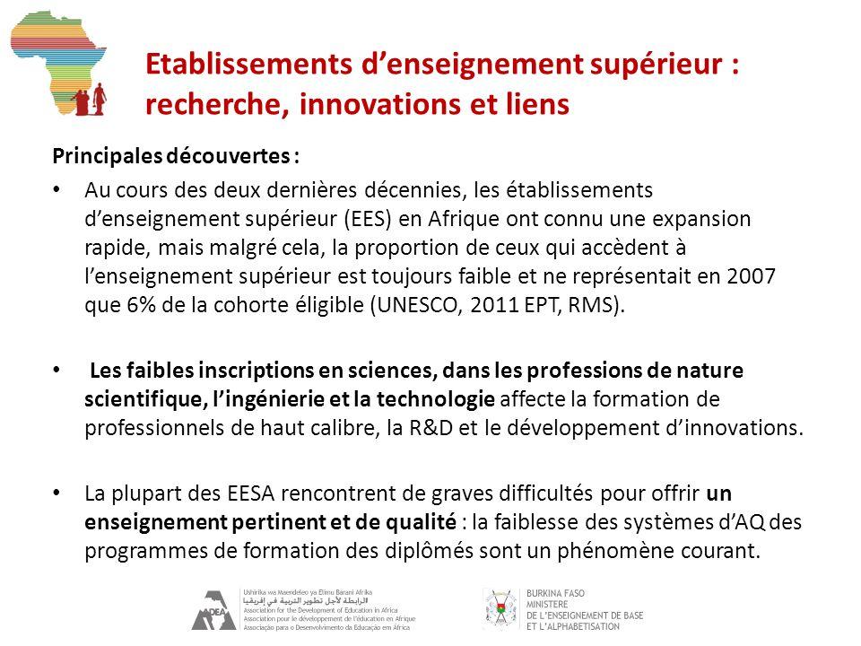 Etablissements denseignement supérieur : recherche, innovations et liens Principales découvertes : Au cours des deux dernières décennies, les établissements denseignement supérieur (EES) en Afrique ont connu une expansion rapide, mais malgré cela, la proportion de ceux qui accèdent à lenseignement supérieur est toujours faible et ne représentait en 2007 que 6% de la cohorte éligible (UNESCO, 2011 EPT, RMS).