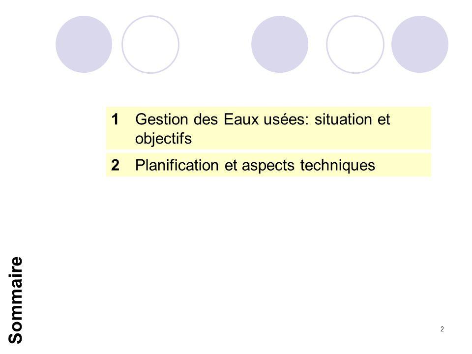 2 1Gestion des Eaux usées: situation et objectifs 2Planification et aspects techniques Sommaire