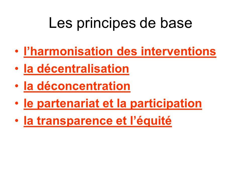 Les principes de base lharmonisation des interventions la décentralisation la déconcentration le partenariat et la participation la transparence et léquité
