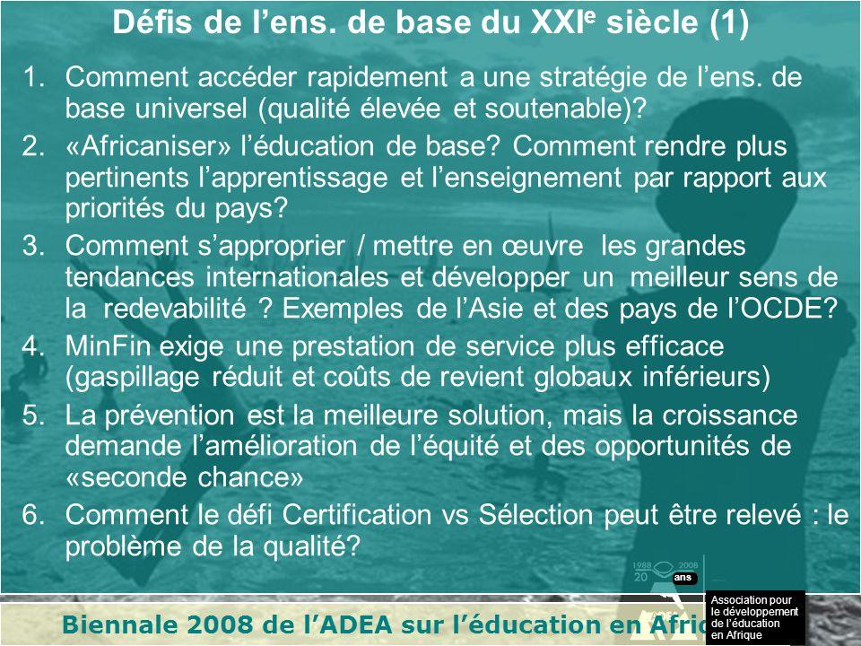 Biennale 2008 de lADEA sur léducation en Afrique Association pour le développement de léducation en Afrique ans Défis de lens.