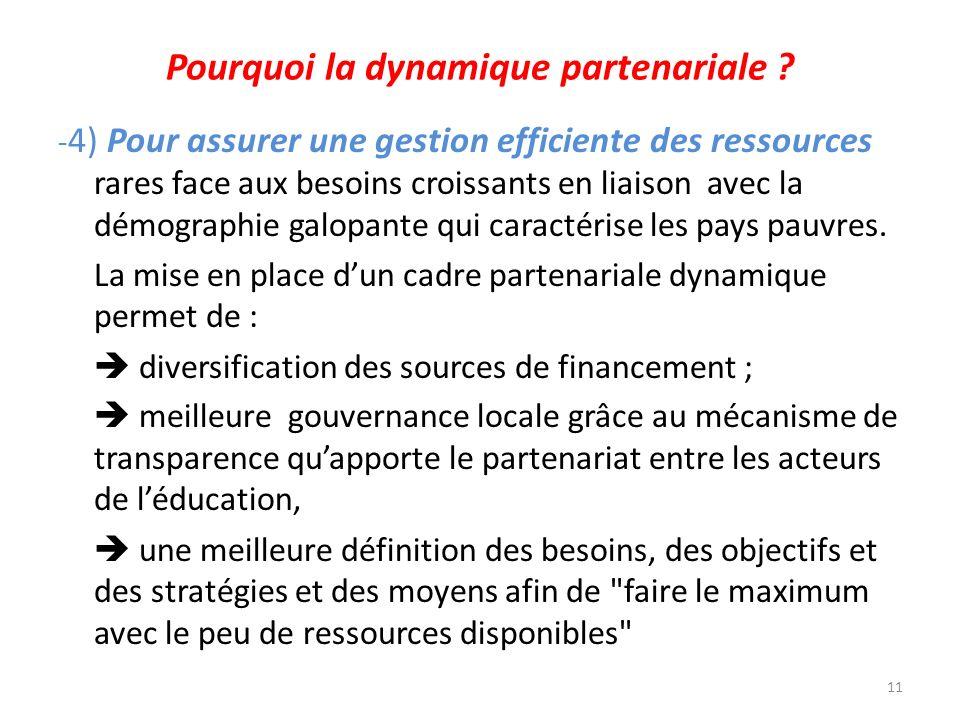 Pourquoi la dynamique partenariale ? - 4) Pour assurer une gestion efficiente des ressources rares face aux besoins croissants en liaison avec la démo