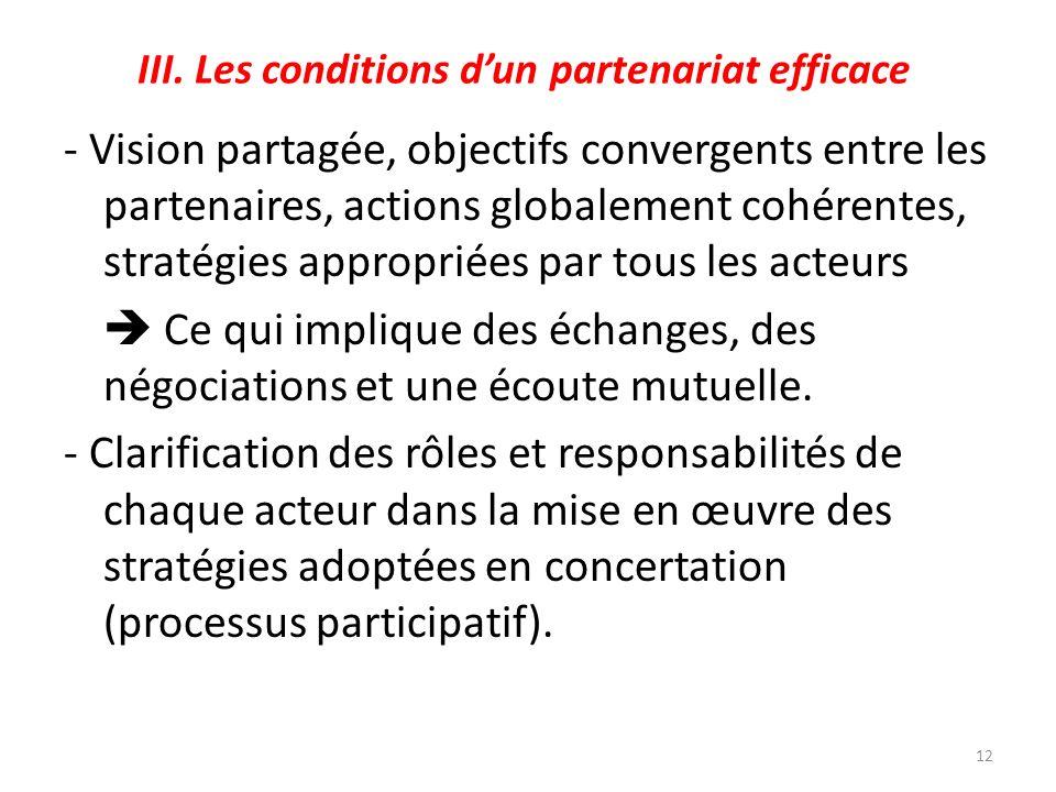 III. Les conditions dun partenariat efficace - Vision partagée, objectifs convergents entre les partenaires, actions globalement cohérentes, stratégie