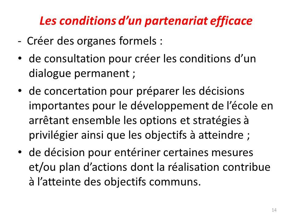 Les conditions dun partenariat efficace - Créer des organes formels : de consultation pour créer les conditions dun dialogue permanent ; de concertati