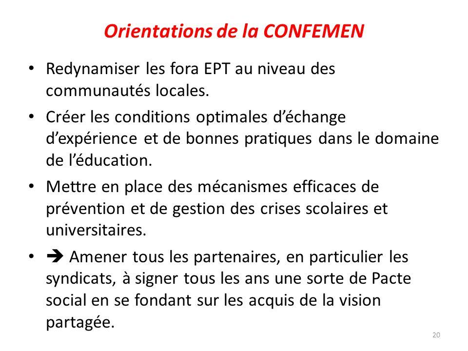 Orientations de la CONFEMEN Redynamiser les fora EPT au niveau des communautés locales. Créer les conditions optimales déchange dexpérience et de bonn