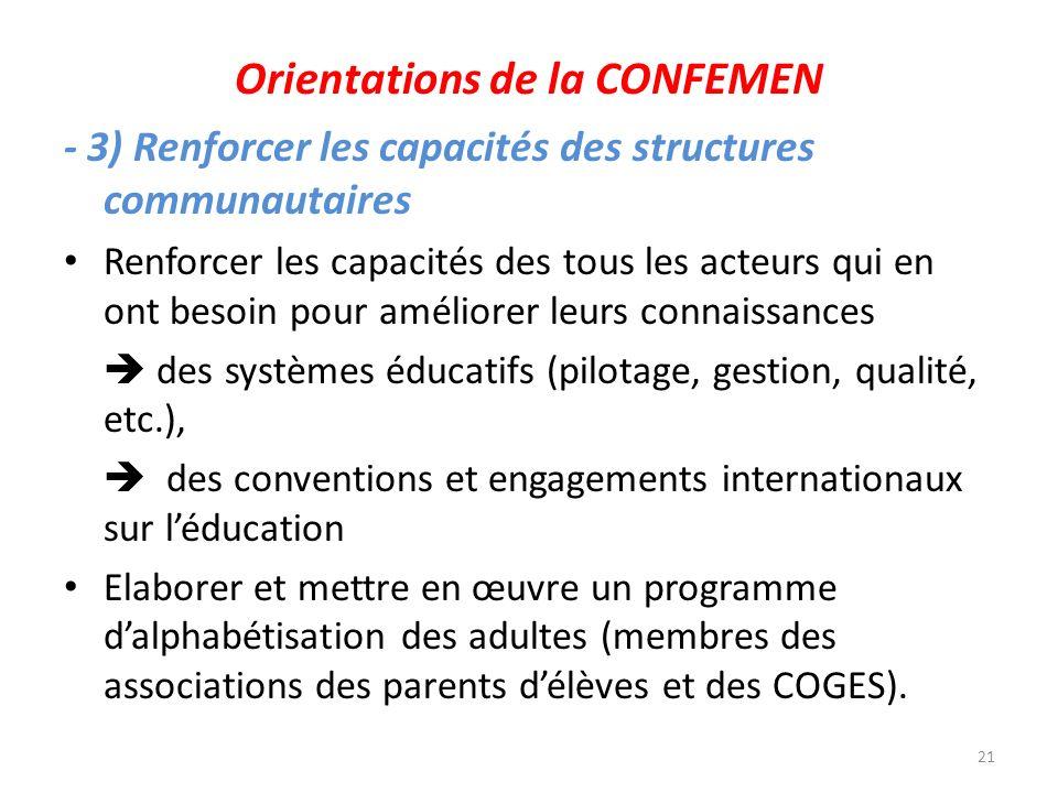 Orientations de la CONFEMEN - 3) Renforcer les capacités des structures communautaires Renforcer les capacités des tous les acteurs qui en ont besoin
