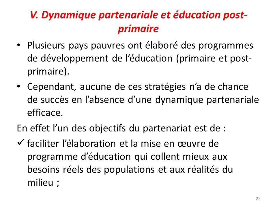 V. Dynamique partenariale et éducation post- primaire Plusieurs pays pauvres ont élaboré des programmes de développement de léducation (primaire et po