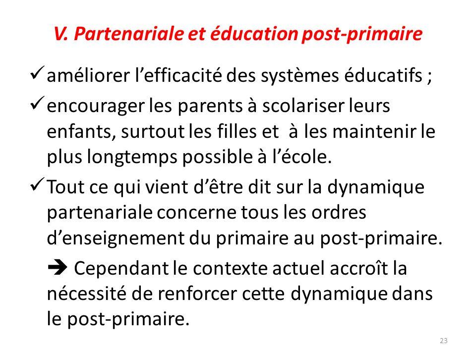 V. Partenariale et éducation post-primaire améliorer lefficacité des systèmes éducatifs ; encourager les parents à scolariser leurs enfants, surtout l