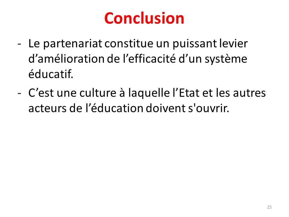 Conclusion -Le partenariat constitue un puissant levier damélioration de lefficacité dun système éducatif. -Cest une culture à laquelle lEtat et les a