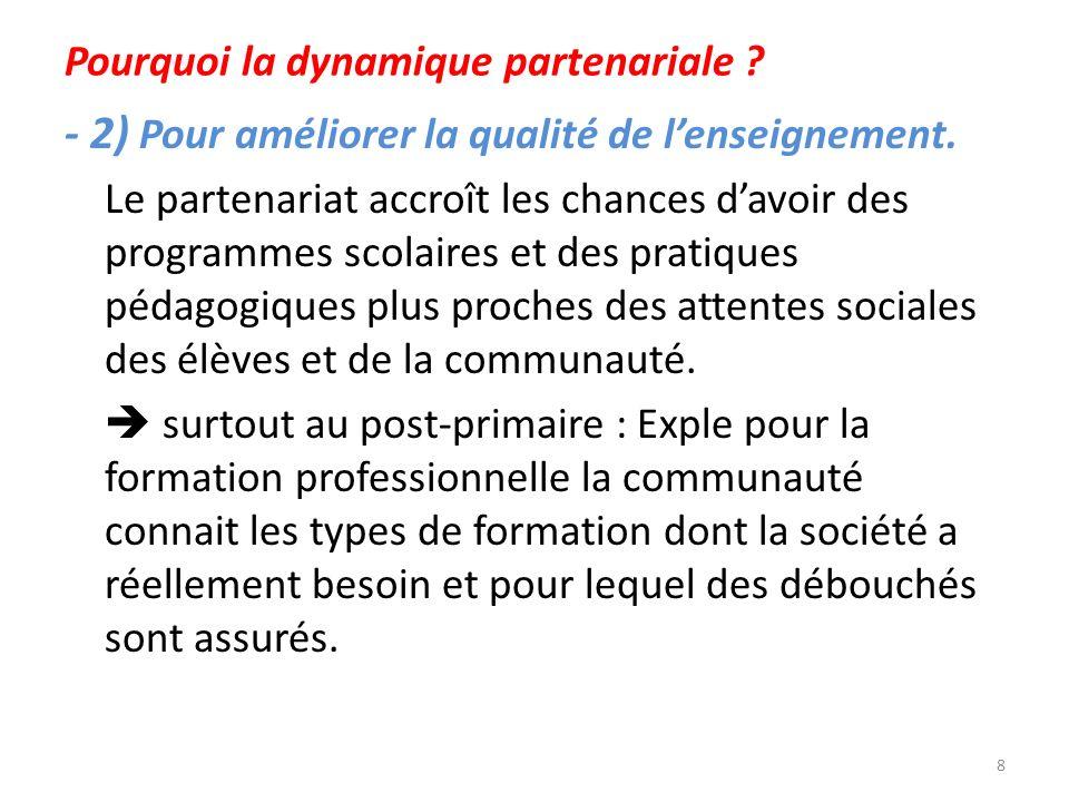 Pourquoi la dynamique partenariale ? - 2) Pour améliorer la qualité de lenseignement. Le partenariat accroît les chances davoir des programmes scolair