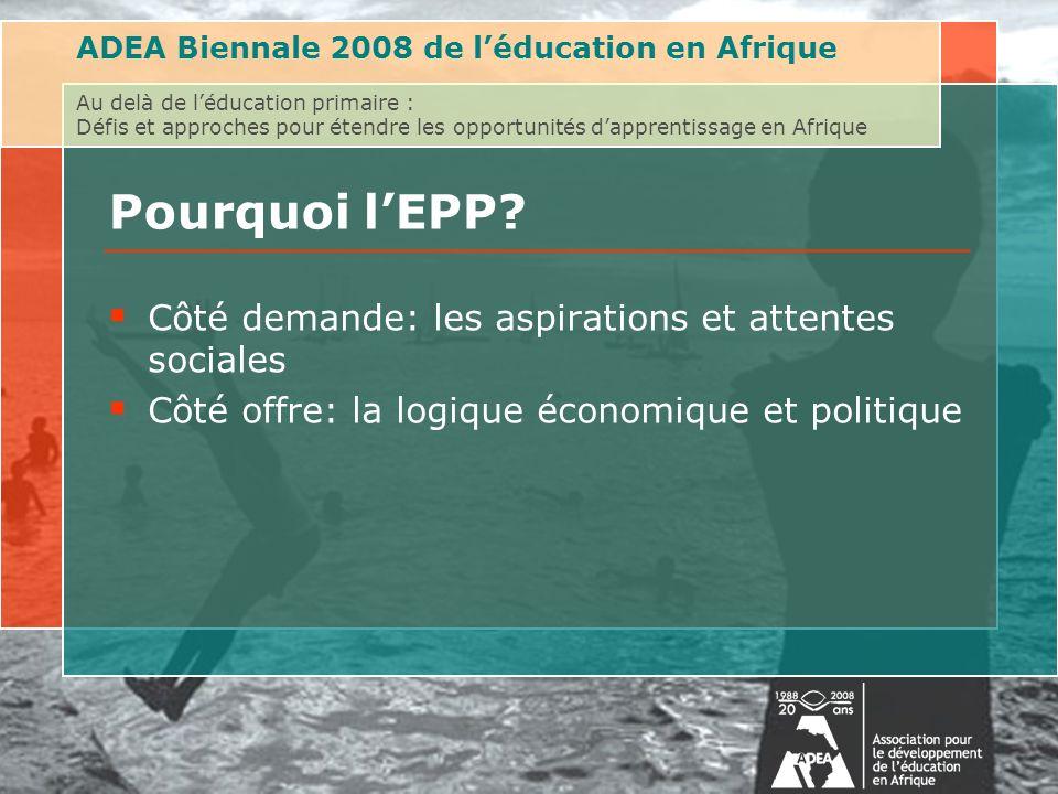 ADEA Biennale 2008 de léducation en Afrique Au delà de léducation primaire : Défis et approches pour étendre les opportunités dapprentissage en Afrique Pourquoi lEPP.