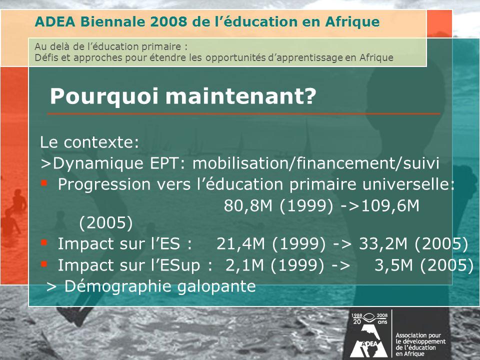 ADEA Biennale 2008 de léducation en Afrique Au delà de léducation primaire : Défis et approches pour étendre les opportunités dapprentissage en Afrique Pourquoi maintenant.