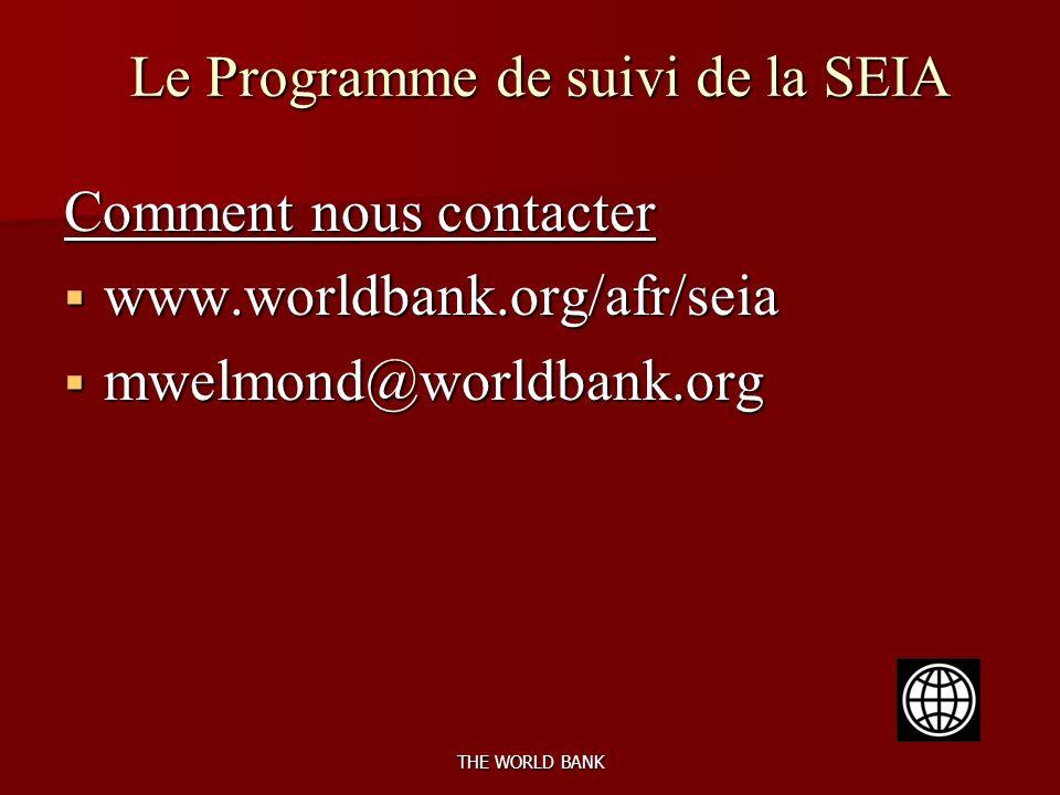 THE WORLD BANK Le Programme de suivi de la SEIA Comment nous contacter www.worldbank.org/afr/seia www.worldbank.org/afr/seia mwelmond@worldbank.org mwelmond@worldbank.org