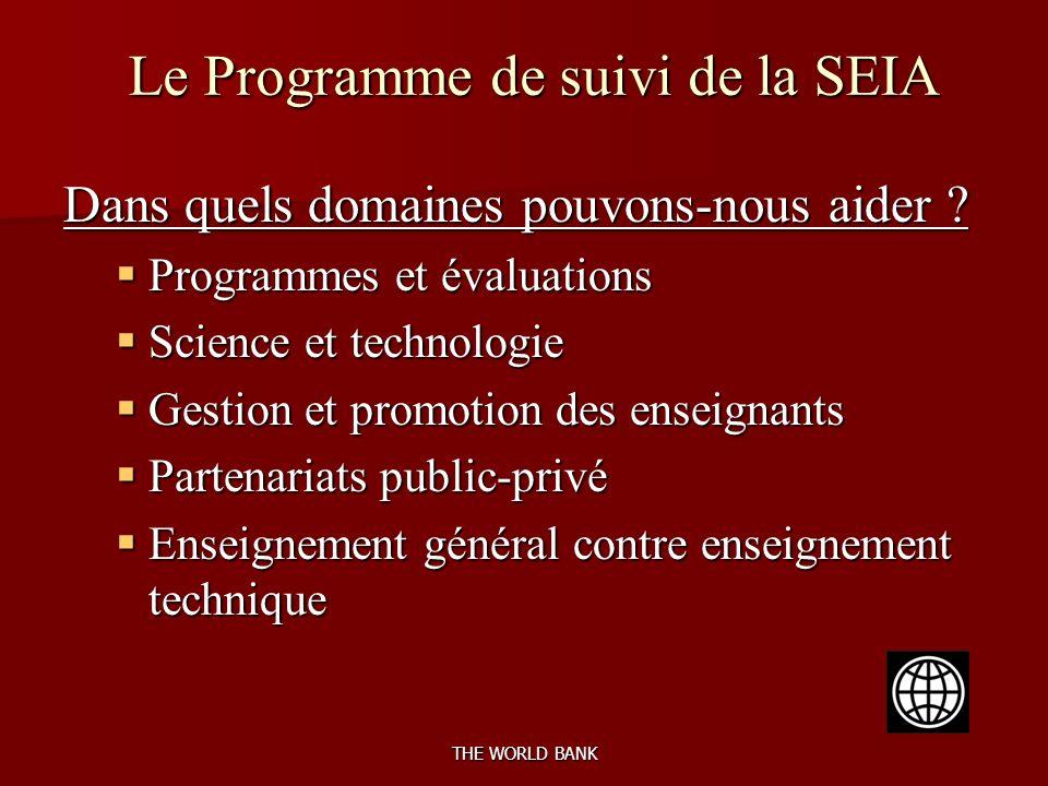 THE WORLD BANK Le Programme de suivi de la SEIA Dans quels domaines pouvons-nous aider .