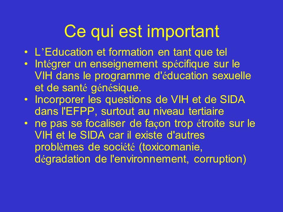 Ce qui est important L Education et formation en tant que tel Int é grer un enseignement sp é cifique sur le VIH dans le programme d é ducation sexuelle et de sant é g é n é sique.
