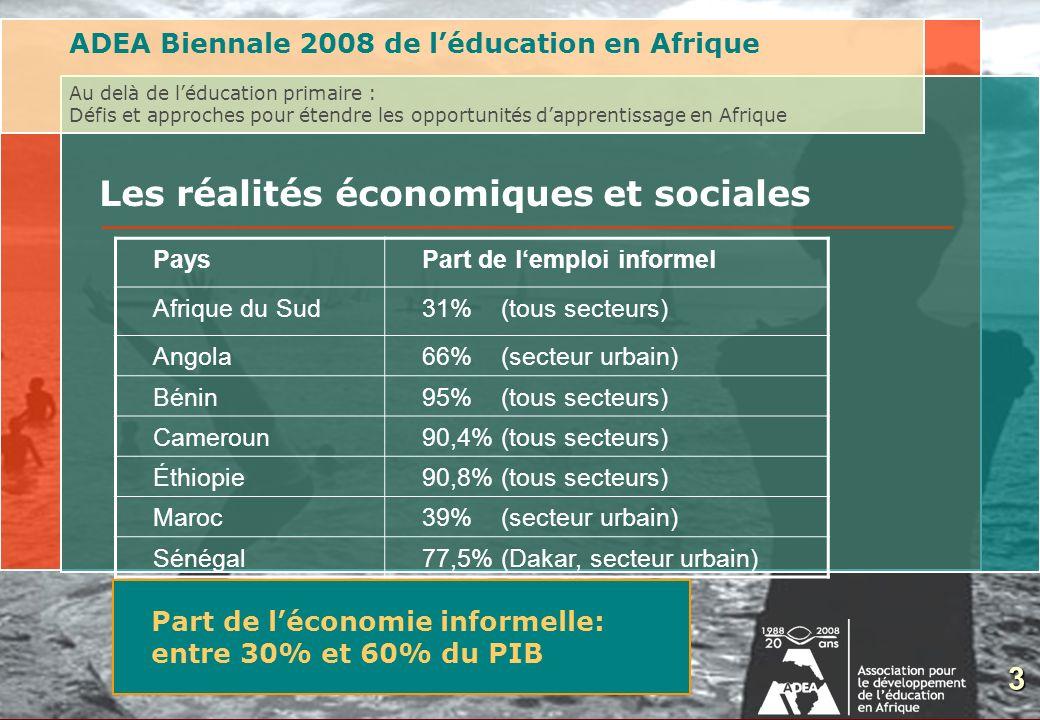 3 Les réalités économiques et sociales ADEA Biennale 2008 de léducation en Afrique Au delà de léducation primaire : Défis et approches pour étendre le
