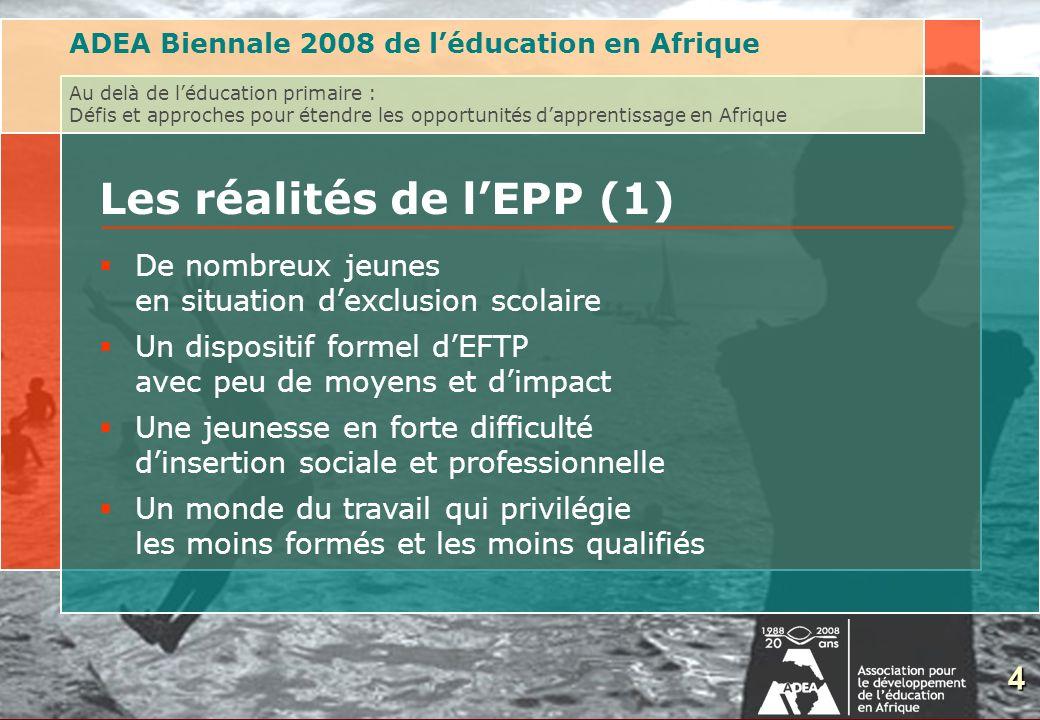 5 Les réalités de lEPP (2) Formation des jeunes entrant sur le marché du travail ADEA Biennale 2008 de léducation en Afrique Au delà de léducation primaire : Défis et approches pour étendre les opportunités dapprentissage en Afrique Formation sur le tas Auto-formation Apprentissage traditionnelle 5