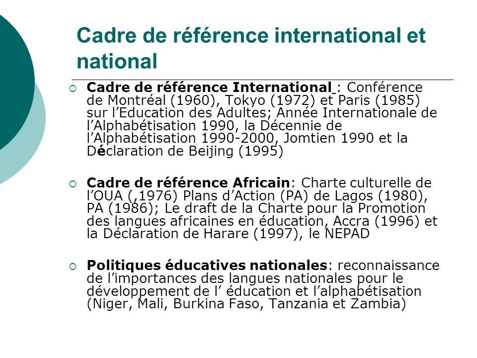 Les politiques efficaces et innovations encourageantes Les réformes ou innovations promues par les gouvernements en éducation formelle La Tanzanie avec la politique éducative promue par le President Nyerere et la promotion du Kiswahili comme langue officielle Zambie: La promotion du programme de lecture dans l éducation primaire La promotion de modèles de plus efficaces en éducation bilingue dans lenseignement formel: Mali avec La Pédagogie Convergente and la Nouvelle Ecole Fondamentale (NFE) Ecoles Bilingues au Niger La plupart des pays africains sont dans une phase d élaboration ou de validation nationale de nouvelles politiques dalphabétisation.