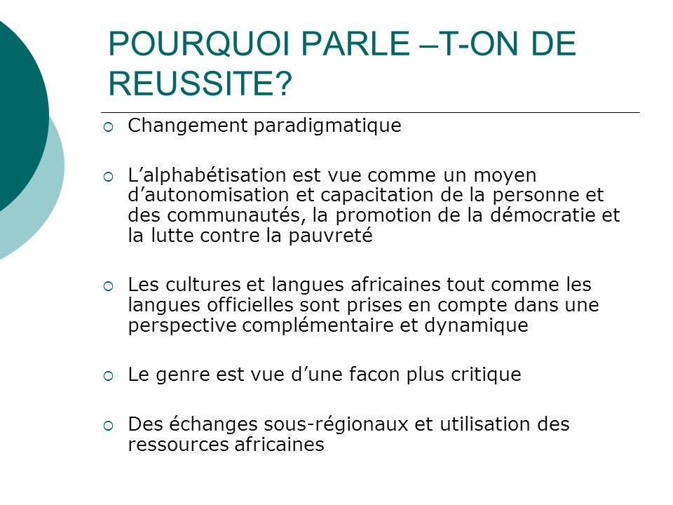 POURQUOI PARLE –T-ON DE REUSSITE.