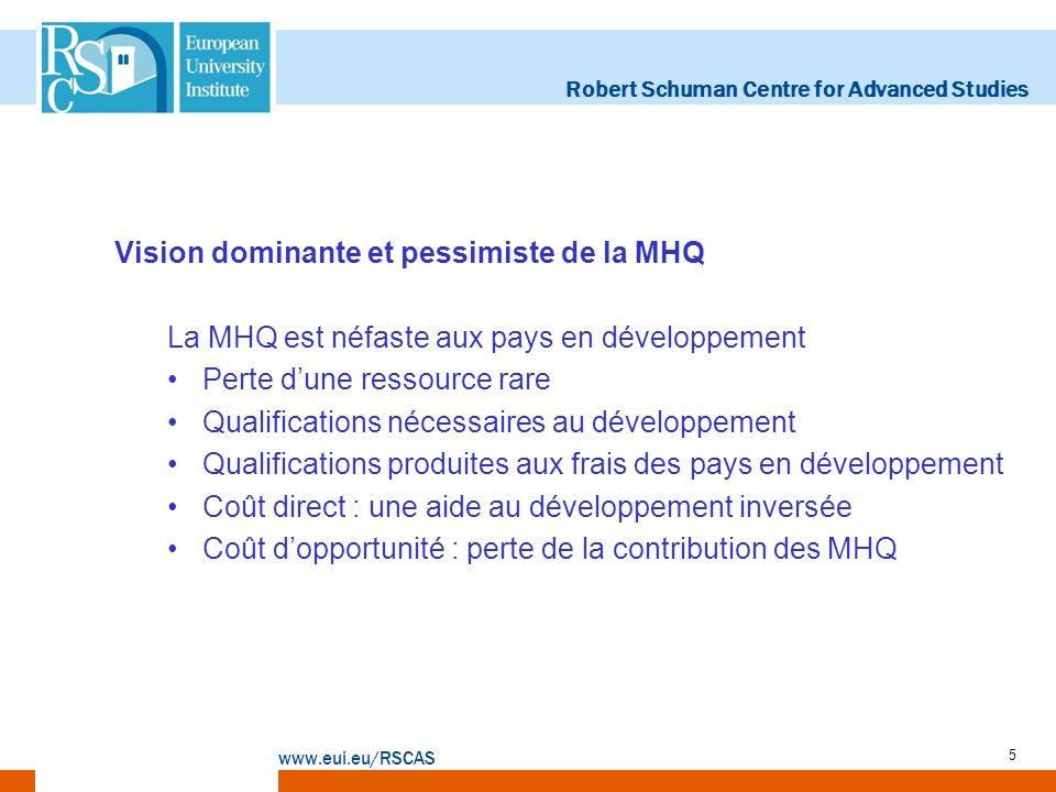 Robert Schuman Centre for Advanced Studies www.eui.eu/RSCAS 5 Vision dominante et pessimiste de la MHQ La MHQ est néfaste aux pays en développement Pe