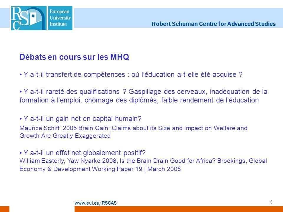 Robert Schuman Centre for Advanced Studies www.eui.eu/RSCAS 8 Débats en cours sur les MHQ Y a-t-il transfert de compétences : où léducation a-t-elle é