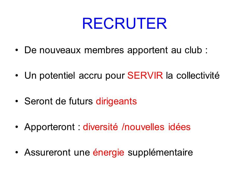 RECRUTER De nouveaux membres apportent au club : Un potentiel accru pour SERVIR la collectivité Seront de futurs dirigeants Apporteront : diversité /n