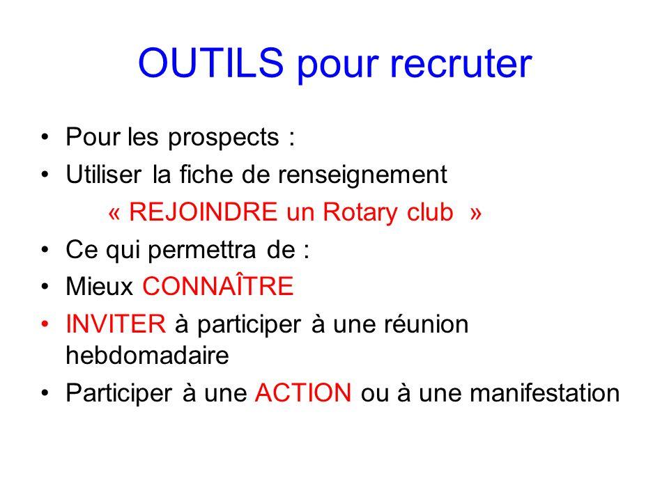 OUTILS pour recruter Pour les prospects : Utiliser la fiche de renseignement « REJOINDRE un Rotary club » Ce qui permettra de : Mieux CONNAÎTRE INVITE
