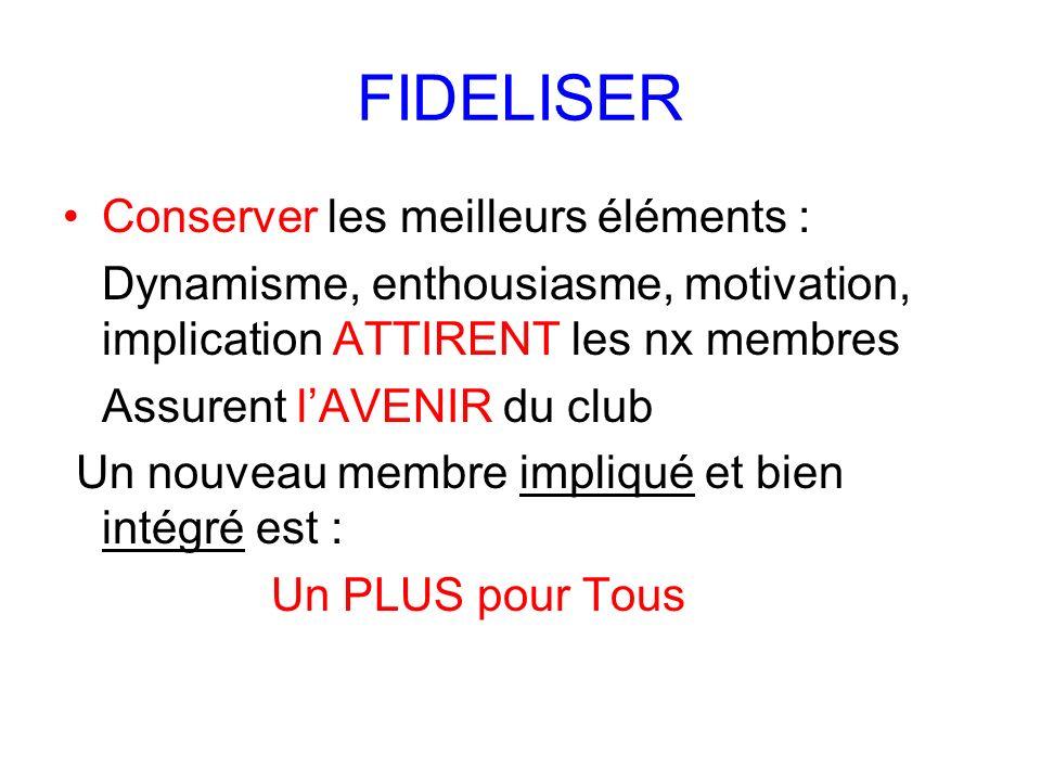 FIDELISER Conserver les meilleurs éléments : Dynamisme, enthousiasme, motivation, implication ATTIRENT les nx membres Assurent lAVENIR du club Un nouv
