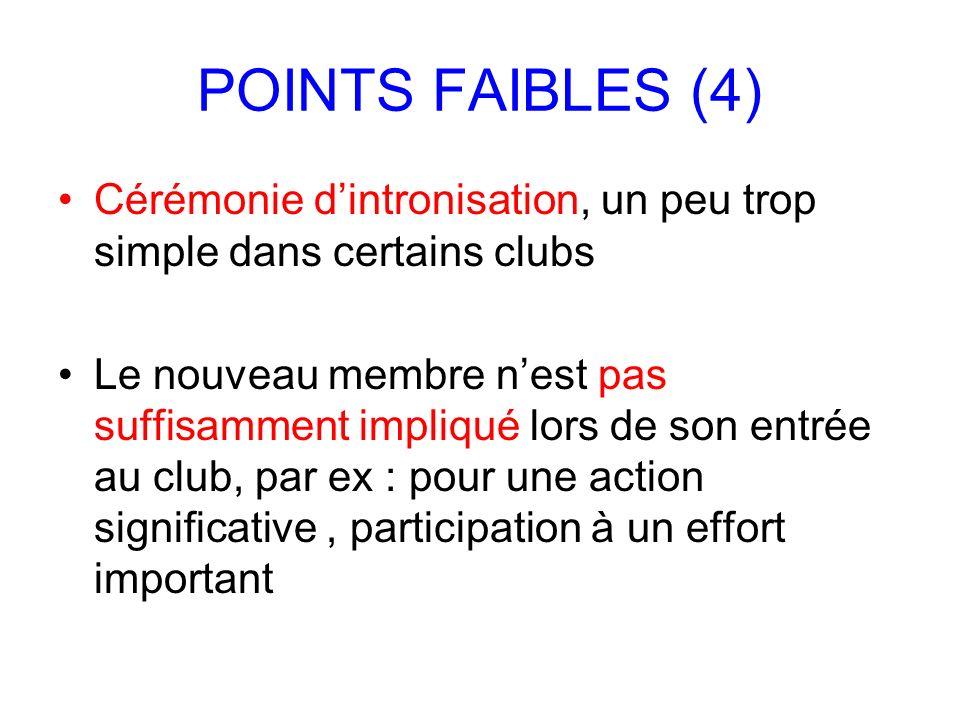 POINTS FAIBLES (4) Cérémonie dintronisation, un peu trop simple dans certains clubs Le nouveau membre nest pas suffisamment impliqué lors de son entré