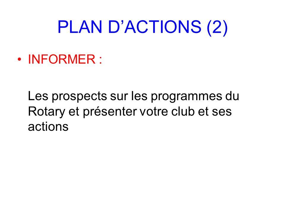PLAN DACTIONS (2) INFORMER : Les prospects sur les programmes du Rotary et présenter votre club et ses actions
