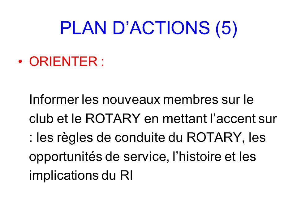 PLAN DACTIONS (5) ORIENTER : Informer les nouveaux membres sur le club et le ROTARY en mettant laccent sur : les règles de conduite du ROTARY, les opp