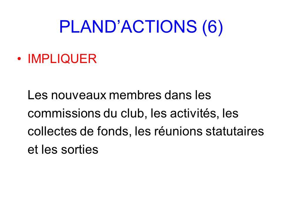 PLANDACTIONS (6) IMPLIQUER Les nouveaux membres dans les commissions du club, les activités, les collectes de fonds, les réunions statutaires et les s