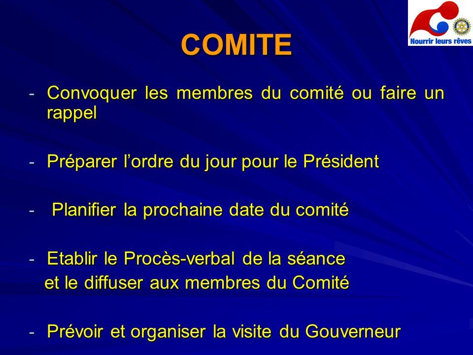 COMITE - Convoquer les membres du comité ou faire un rappel - Préparer lordre du jour pour le Président - Planifier la prochaine date du comité - Etab