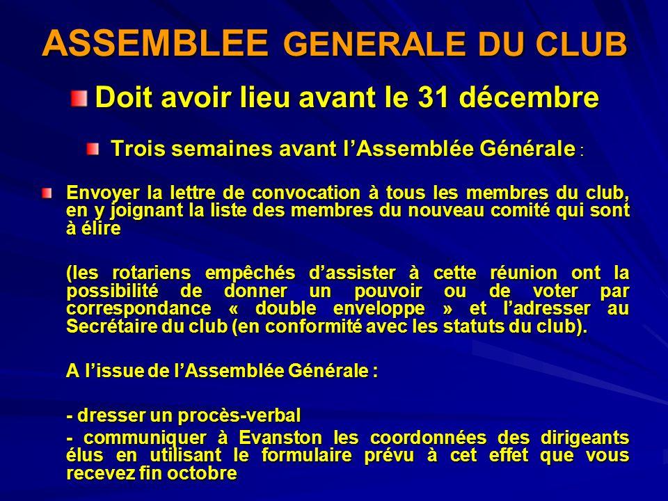 ASSEMBLEE GENERALE DU CLUB Doit avoir lieu avant le 31 décembre Trois semaines avant lAssemblée Générale : Envoyer la lettre de convocation à tous les