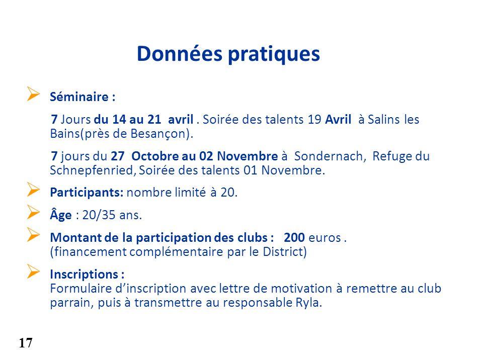 Séminaire : 7 Jours du 14 au 21 avril. Soirée des talents 19 Avril à Salins les Bains(près de Besançon). 7 jours du 27 Octobre au 02 Novembre à Sonder
