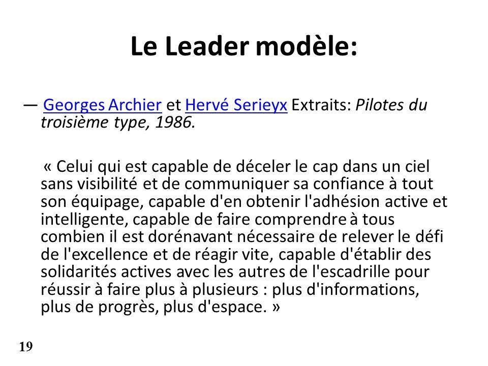 Le Leader modèle: Georges Archier et Hervé Serieyx Extraits: Pilotes du troisième type, 1986.Georges ArchierHervé Serieyx « Celui qui est capable de d