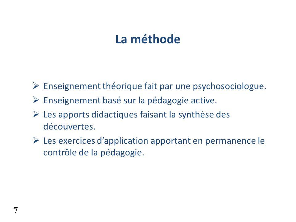 La méthode Enseignement théorique fait par une psychosociologue. Enseignement basé sur la pédagogie active. Les apports didactiques faisant la synthès
