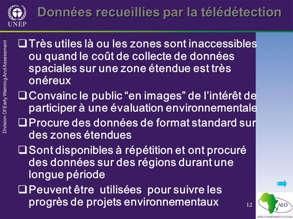 Division Of Early Warning And Assessment 12 Données recueillies par la télédétection Très utiles là ou les zones sont inaccessibles ou quand le coût d