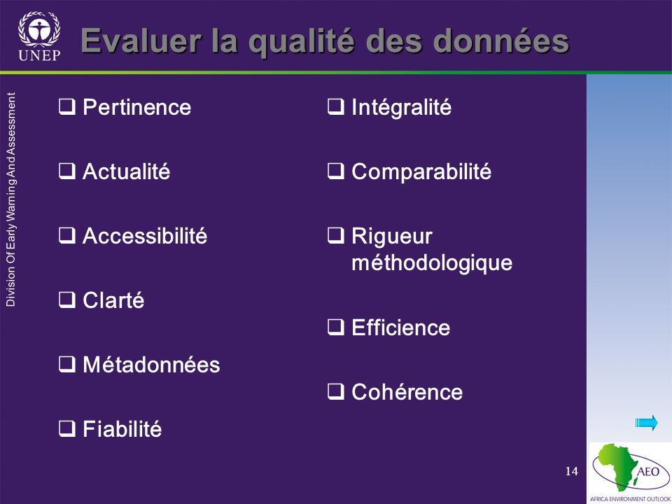 Division Of Early Warning And Assessment 14 Evaluer la qualité des données Pertinence Actualité Accessibilité Clarté Métadonnées Fiabilité Intégralité