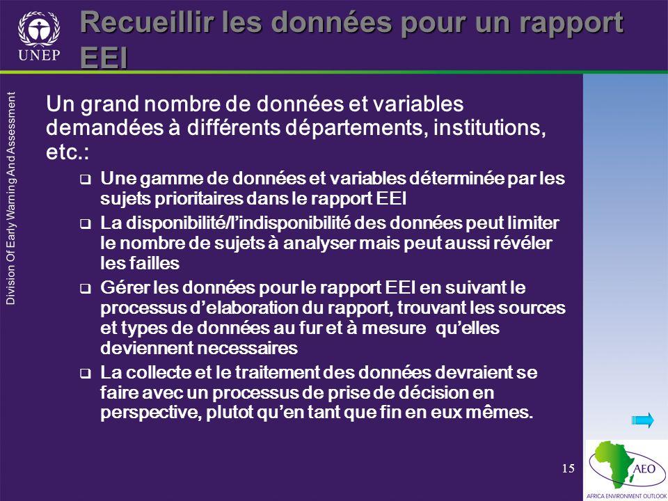 Division Of Early Warning And Assessment 15 Recueillir les données pour un rapport EEI Un grand nombre de données et variables demandées à différents