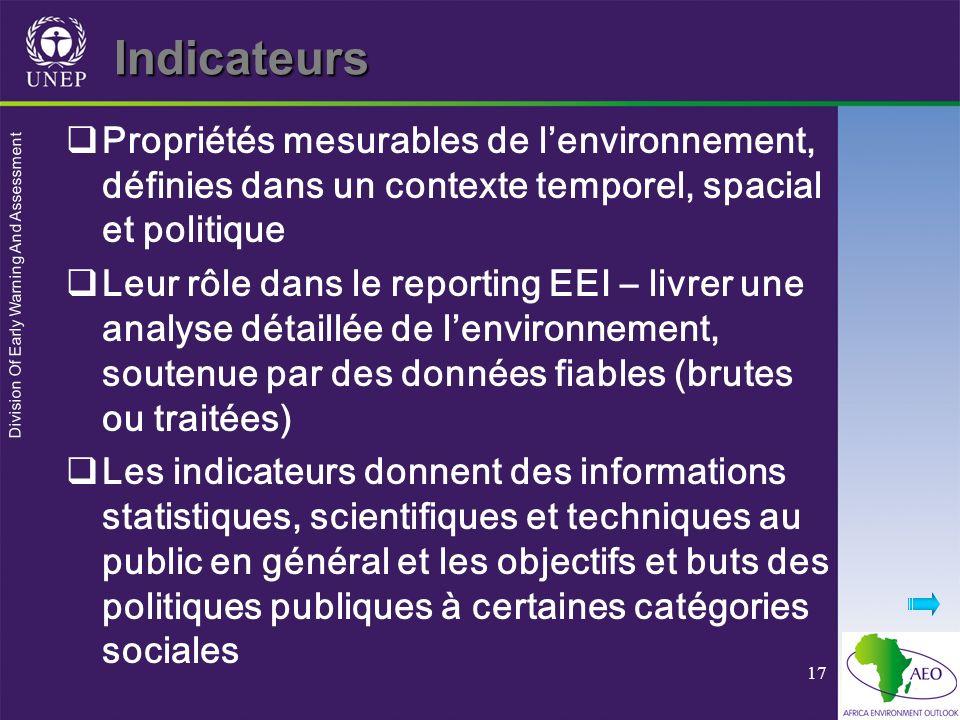 Division Of Early Warning And Assessment 17 Indicateurs Propriétés mesurables de lenvironnement, définies dans un contexte temporel, spacial et politi