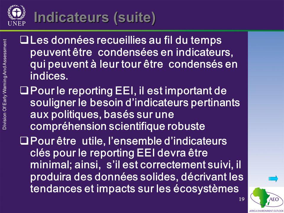 Division Of Early Warning And Assessment 19 Indicateurs (suite) Les données recueillies au fil du temps peuvent être condensées en indicateurs, qui pe