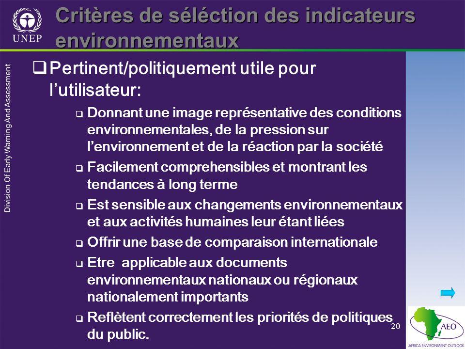 Division Of Early Warning And Assessment 20 Critères de séléction des indicateurs environnementaux Pertinent/politiquement utile pour lutilisateur: Do