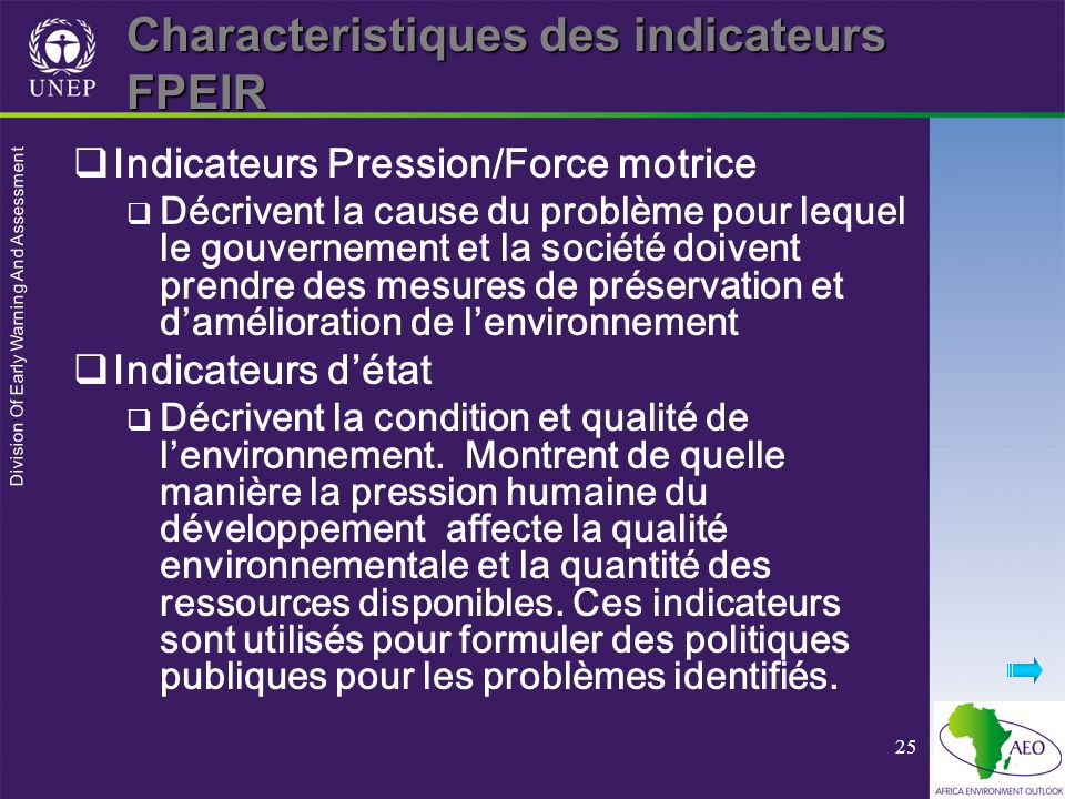 Division Of Early Warning And Assessment 25 Characteristiques des indicateurs FPEIR Indicateurs Pression/Force motrice Décrivent la cause du problème
