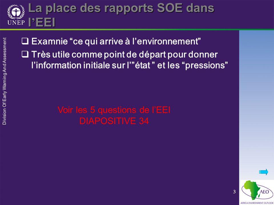 Division Of Early Warning And Assessment 3 La place des rapports SOE dans l EEI Examnie ce qui arrive à lenvironnement Très utile comme point de dépar